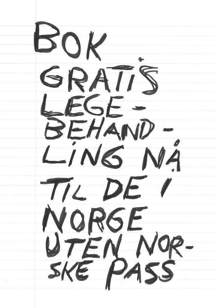 """Trond Worrens bok """"Bok Gratis Legebehandling Nå Til De i Norge Uten Norske Pass"""""""